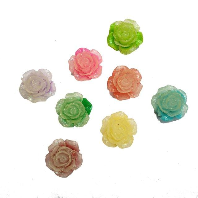 40 pcs, 8 color acrylic shiny glitter 20mm rose shape beads with flat base (5 pcs each color)
