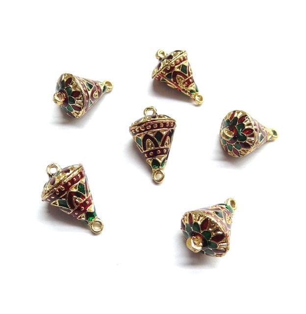 6 pcs, 12x19mm Maroon Green Meenakari Cone Shape Beads With Ring At Top At Bottom