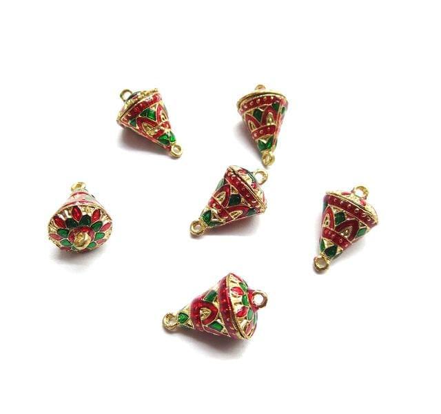 6 pcs, 12x19mm Red Green Meenakari Cone Shape Beads With Ring At Top At Bottom