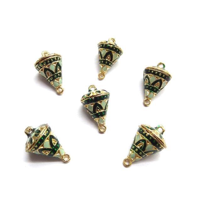 6 pcs, 12x19mm Green Meenakari Cone Shape Beads With Ring At Top At Bottom