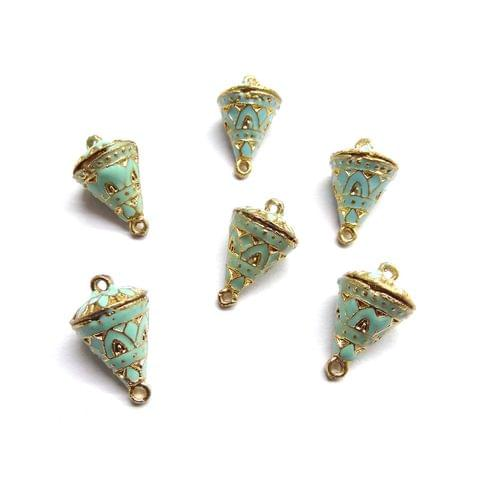 6 pcs, 12x19mm Turquoise Meenakari Cone Shape Beads With Ring At Top At Bottom