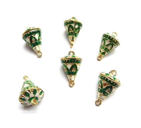 6 pcs, 12x19mm White Green Meenakari Cone Shape Beads With Ring At Top At Bottom