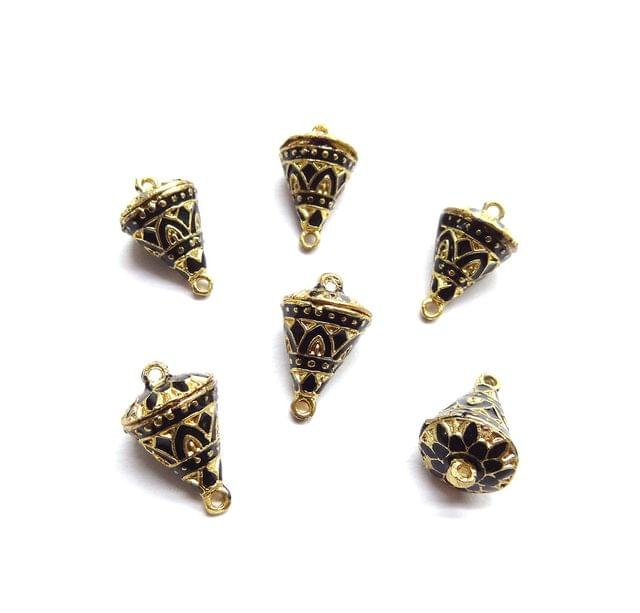 6 pcs, 12x19mm Black Meenakari Cone Shape Beads With Ring At Top At Bottom