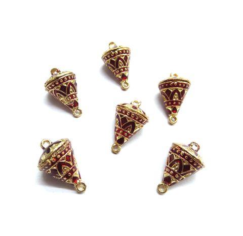 6 pcs, 12x19mm Maroon Meenakari Cone Shape Beads With Ring At Top At Bottom