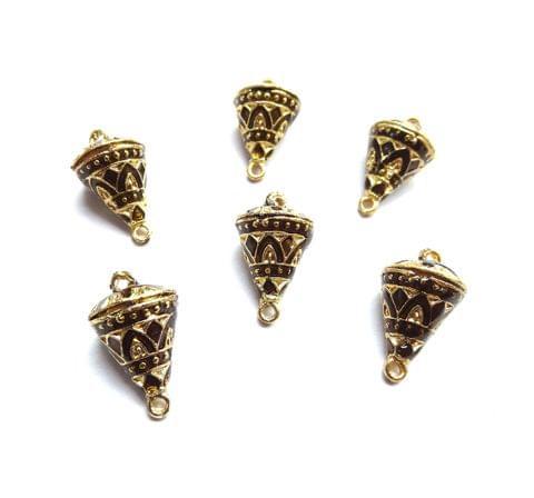 6 pcs, 12x19mm Golden Meenakari Cone Shape Beads With Ring At Top At Bottom