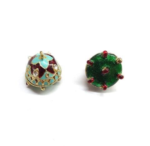 1 pair, 16x17mm Turquoise Maroon Kundan Meenakari Jhumki