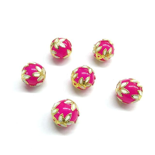 20 pcs, 12mm Designer Pink Round Balls For Jewelry Making