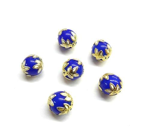 20 pcs, 12mm Designer Dark Blue Round Balls For Jewelry Making