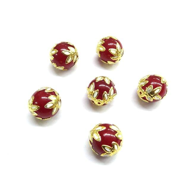 20 pcs, 12mm Designer Maroon Round Balls For Jewelry Making