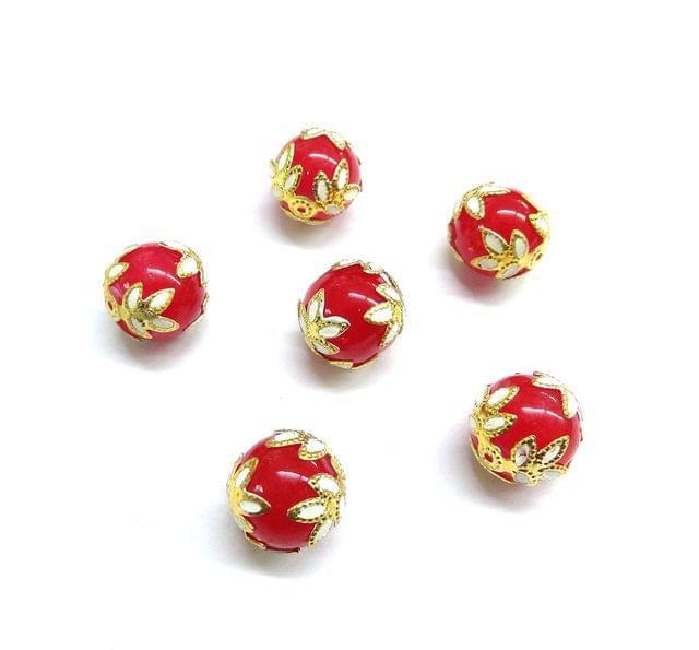 20 pcs, 12mm Designer Red Round Balls For Jewelry Making