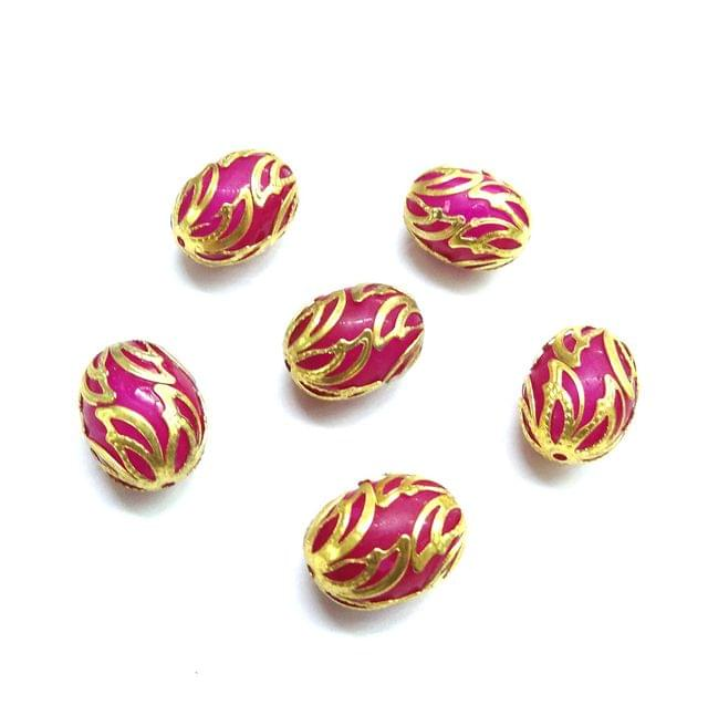 20 pcs, 12x16mm Pink Oval Shape Beads For Jewelry Making