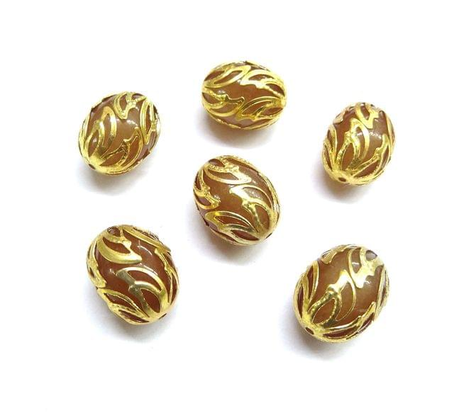 20 pcs, 12x16mm Golden Oval Shape Beads For Jewelry Making