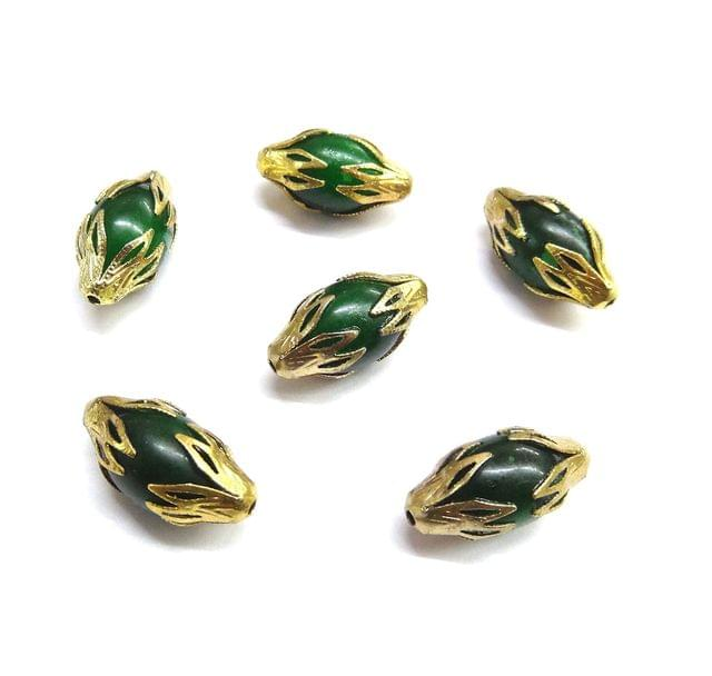 20 pcs, 10x20mm Green Designer Beads For Jewelry Making