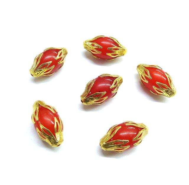 20 pcs, 10x20mm Orange Designer Beads For Jewelry Making
