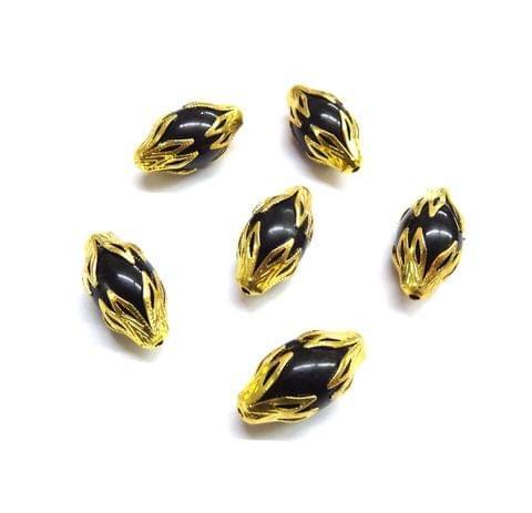 20 pcs, 10x20mm Black Designer Beads For Jewelry Making