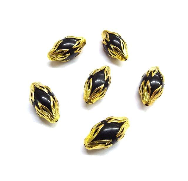 20 pcs, 10x20mm Black Designer Beads For Jewelry Making