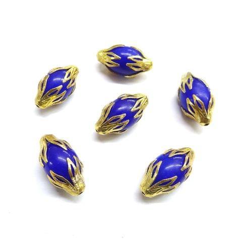 20 pcs, 10x20mm Dark Blue Designer Beads For Jewelry Making