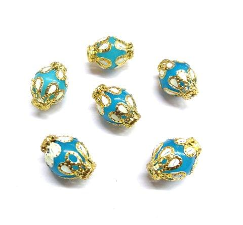 20 pcs, 12x18mm Blue Designer Beads For Jewelry Making