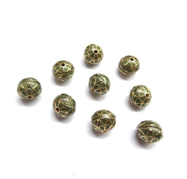 10 pcs, 10mm Mehendi Green High Quality Meena Ball