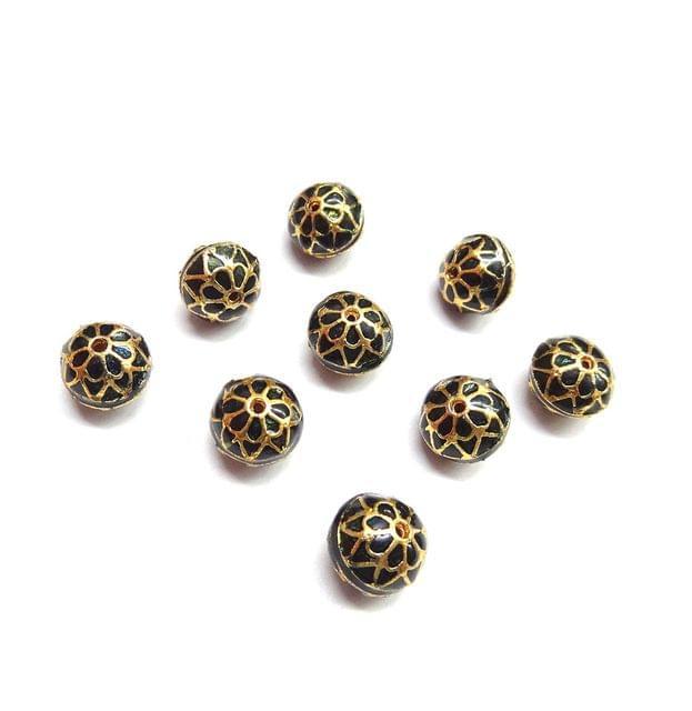 10 pcs, 10mm Black High Quality Meena Ball
