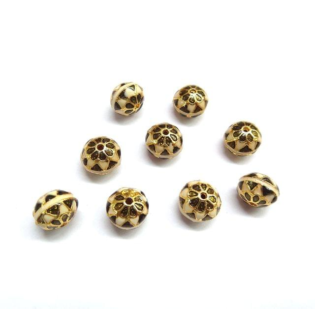 10 pcs, 10mm Golden White High Quality Meena Ball