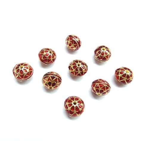 10 pcs, 10mm Red High Quality Meena Ball