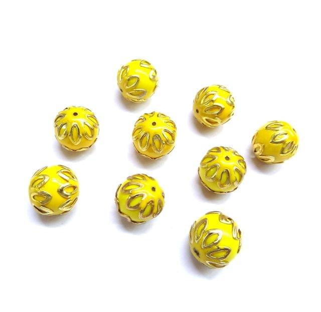 20 pcs, 12mm Lemon Yellow Meenakari High Quality Ball