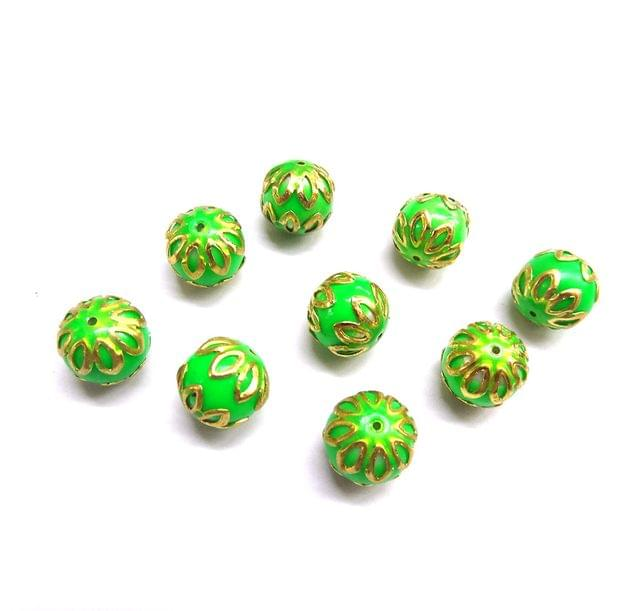 20 pcs, 12mm Green Meenakari High Quality Ball