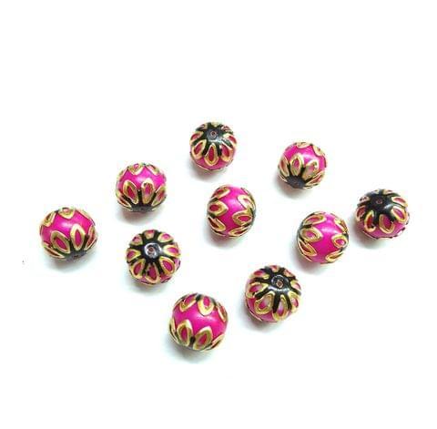 20 pcs, 12mm Pink Black Meenakari High Quality Ball