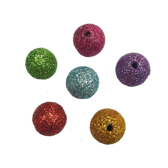 30 pcs, 6 color glitter ball 14 mm with full hole (5each)