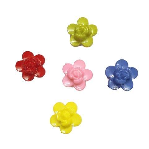 30 pcs, 5 color acrylic Flower shape 18 mm with full hole (6each)
