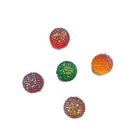 30 pcs, 5 color acrylic Disco beads 10 mm with flat base (6each)