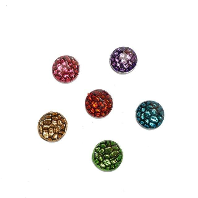 30 pcs, 6 color acrylic round beads 10 mm with flat base (5each)