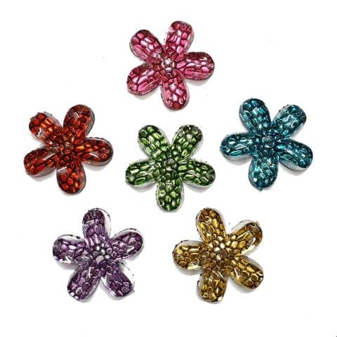 30 pcs, 6 color acrylic flower beads 31 mm with flat base (5each)