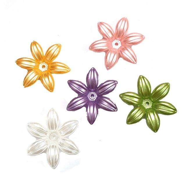 30 pcs, 5 color acrylic flower beads 35 mm with full hole (6each)