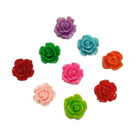 45 pcs, 9 color acrylic flower beads 12 mm with flat base (5each)