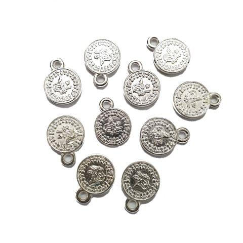 20 pcs, acrylic silver polished coin charms 12 mm with ring at top