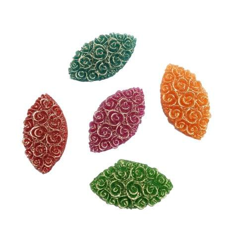 30 pcs, 5 color acrylic carving kisti shape beads 30 mm with flat base (6each)