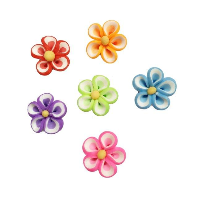 30 pcs, 6 color rubber flower beads 12 mm with full side hole (5each)