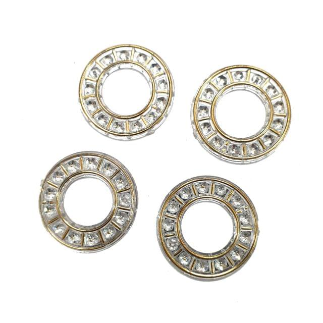 20 pcs, silver color acrylic round ring 22 mm with hole at top bottom