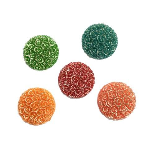 30 pcs, 5 color acrylic carving round shape beads 24 mm with flat base (6each)