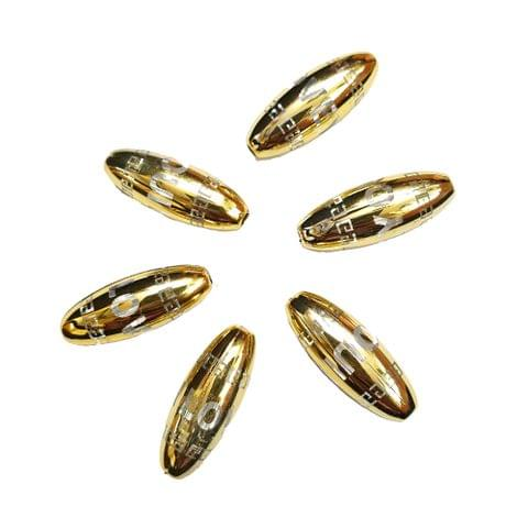 15 pcs, golden color acrylic barrel shape i love you beads 30 mm with full hole