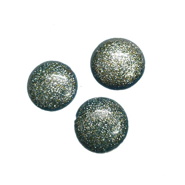 15 pcs, acrylic round shape glitter laminated beads 30 mm with flat base and hole at top and bottom