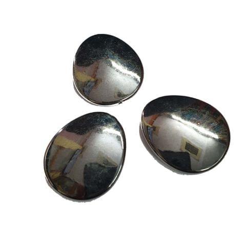 30 pcs, grey oval shape acrylic beads 33 mm with full hole