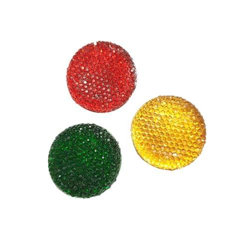 30 pcs, 3 color acrylic round sugar shape beads 30 mm with flat base (10 pcs each color)