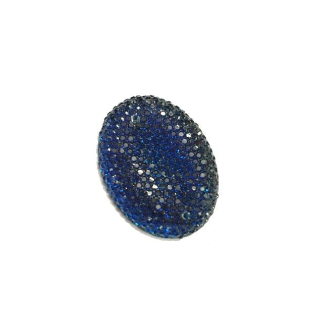 15 pcs, blue oval shape acrylic sugar beads 38 mm with flat base
