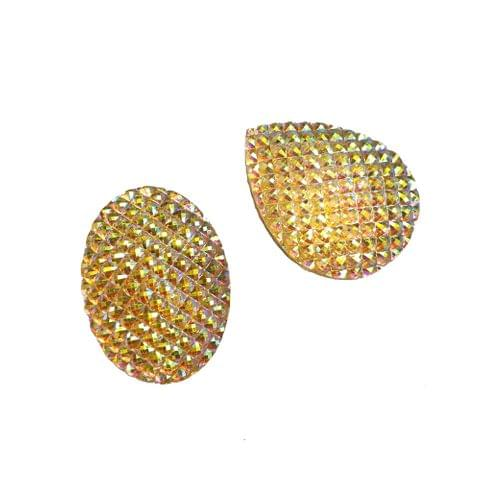 30 pcs, acrylic golden round and drop sugar shape beads 40 mm with flat base (15 pcs each shape)