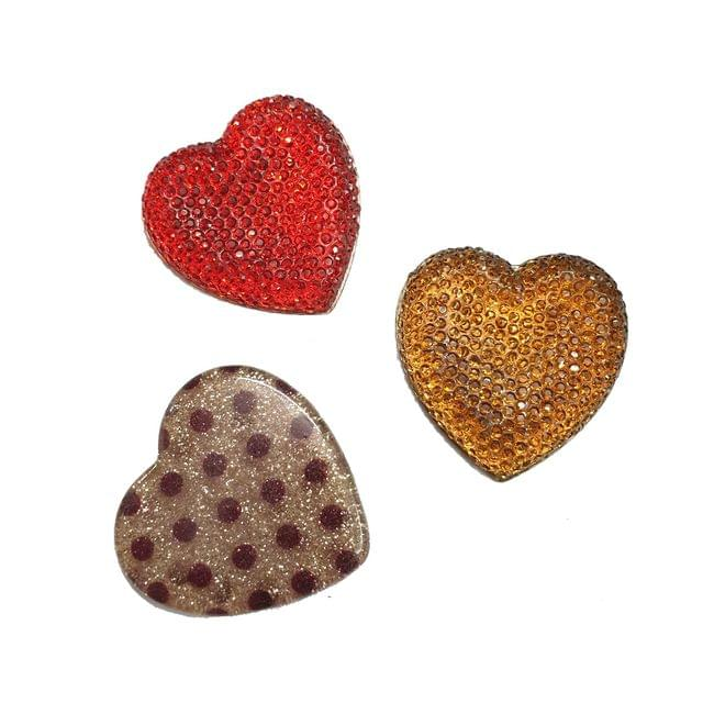 15 pcs, acrylic heart shape sugar and laminated beads 35 mm with flat base (5 pcs each color)