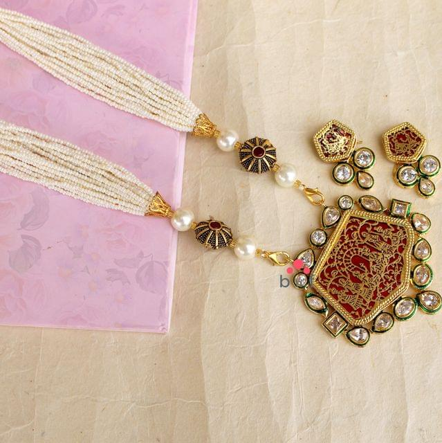 Designer Beaded Kundan Necklace Set For Women