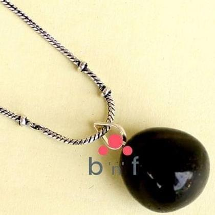 German Silver Chain With Onyx Stone Pendant